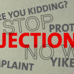 overcoming sales objections - mouth with wods objection, stop, wow!